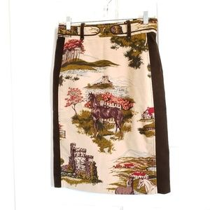 Anthropologie cartonnier equestrian horse skirt #6